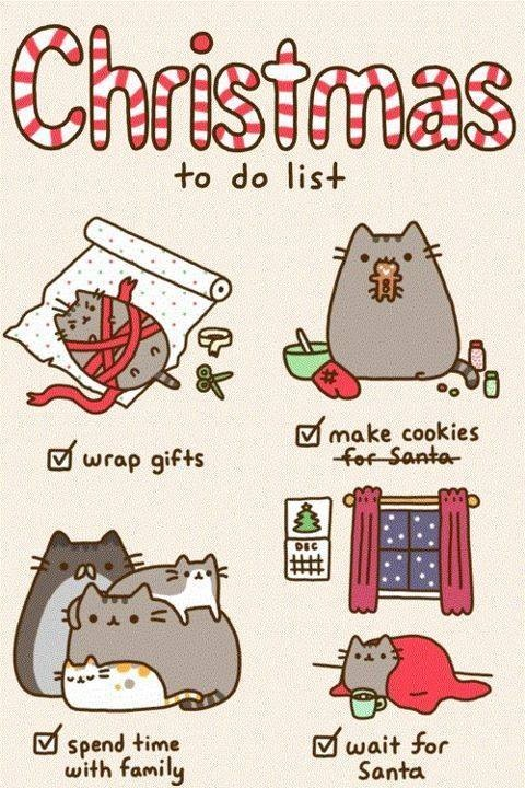 Pusheen Cat Christmas to Do List