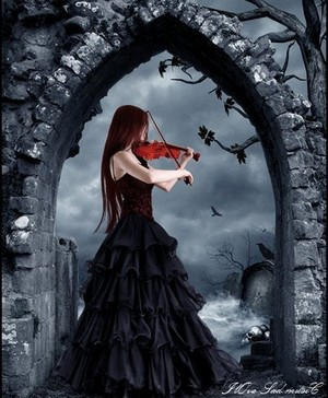 Gothic Lady Playing a Violin