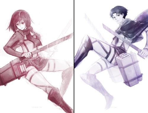 Shingeki no Kyojin (Attack on Titan) Hintergrund titled RivaMika