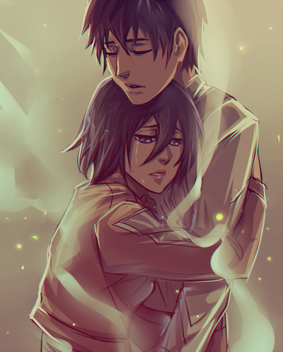 Shingeki no Kyojin (Attack on titan) wolpeyper called Eren x Mikasa
