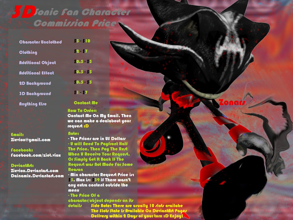 3D Sonic fan Character Commissions