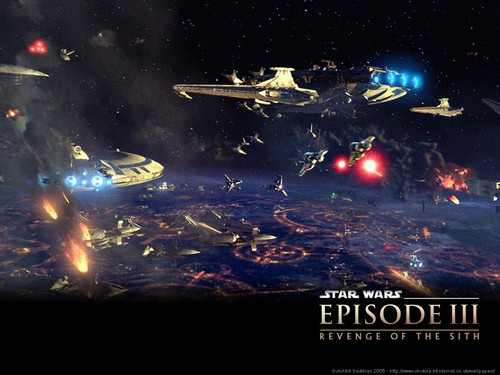 bintang Wars: Revenge of the Sith wallpaper possibly with a fire, a sign, and a business district titled Revenge of the Sith (Ep. III) - Battle Over Coruscant
