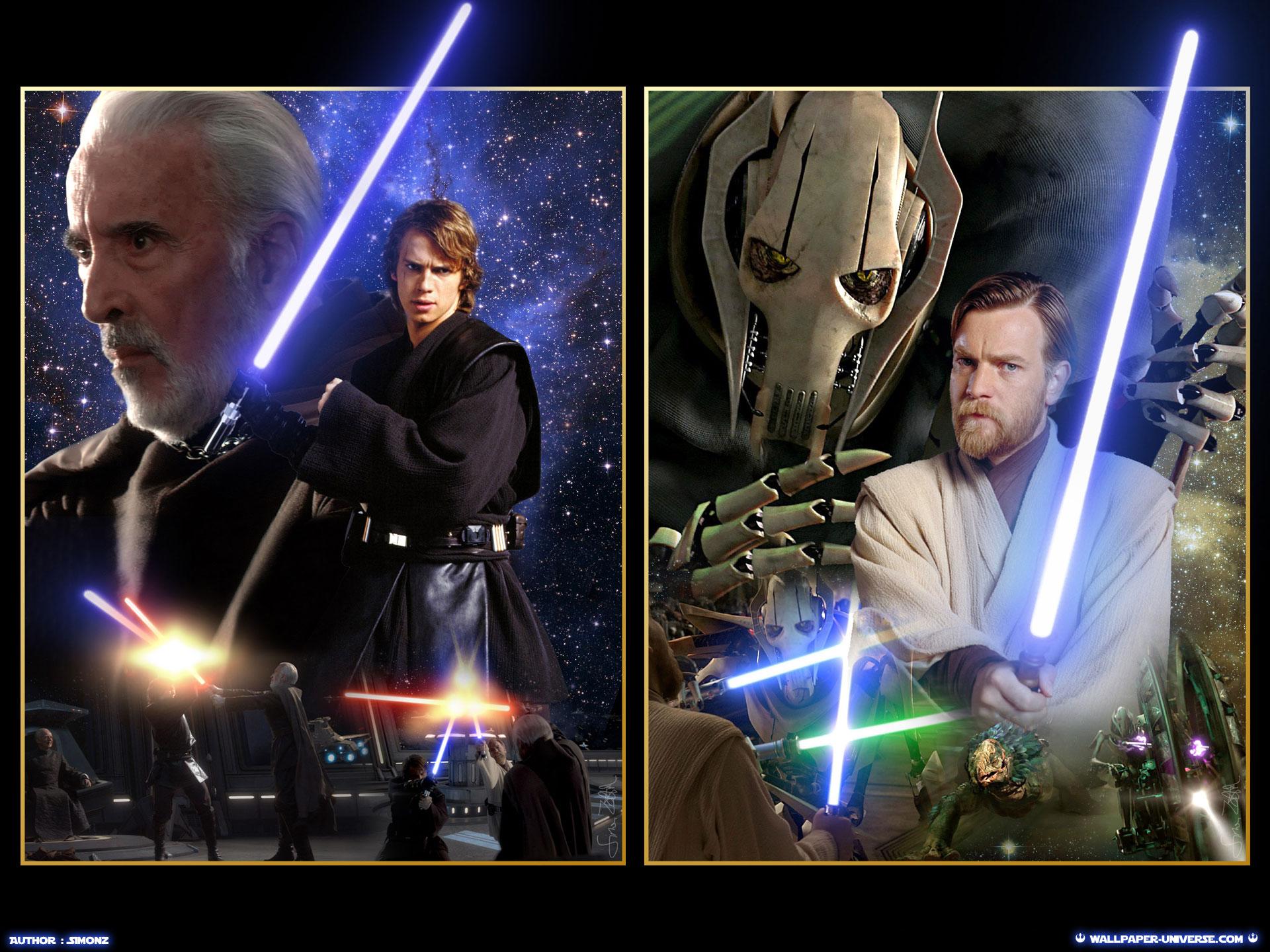 Rots Ep Iii Anakin Vs Dooku Obi Wan Vs General Grievous Estrela Wars Revenge Of The Sith Wallpaper 36272747 Fanpop