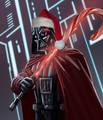 Darth Vader has a candy cane lightsaber