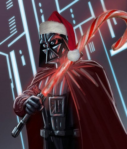 étoile, étoile, star Wars fond d'écran probably containing a surcoat, a tabard, and a rue entitled Darth Vader has a Candy cane lightsaber