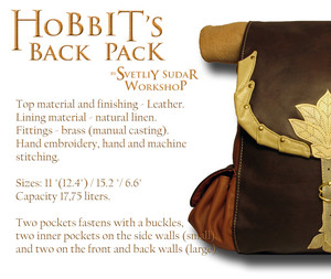 Hobbit's leather back pack (inspired Bilbo Baggins) por Svetliy-Sudar