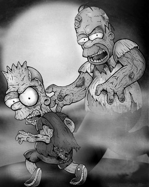 Homer and bart as zombies