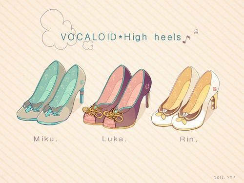 ボーカロイド 壁紙 entitled Miku, Luka, and Rin Heels