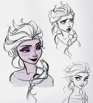 Walt 디즈니 Sketches - 퀸 Elsa