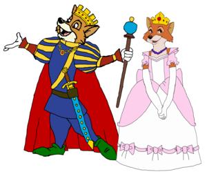 Prince Robin capuche, hotte and Princess Marian