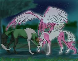 winged wolf and wolf