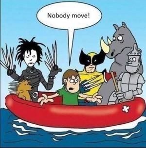 Wolverine in Rubber Raft?