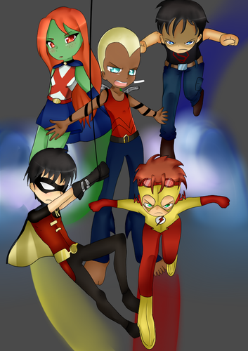 Young Justice Hintergrund possibly containing Anime titled young justice