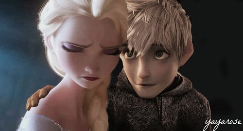 disney crossover fondo de pantalla possibly containing a portrait called Jack Frost and Elsa