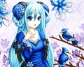 Blue Dress Аниме girl
