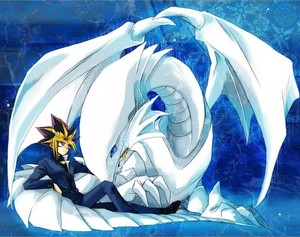 yami yugi with blue eyes white dragon