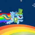 rainbowdash wins the st patricks day reward and flys on rainbow