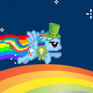 rainbowdash wins the st patricks 日 reward and flys on 虹