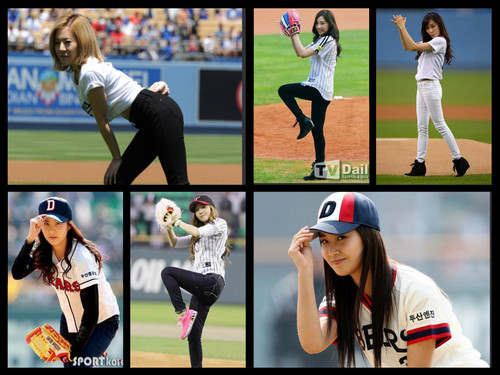 taeyeon (snsd) wallpaper containing a wicket, a fielder, and a bowler entitled snsd pitch collection