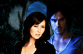 Prue Halliwell and Damon Salvatore - au-crossover-couples wallpaper