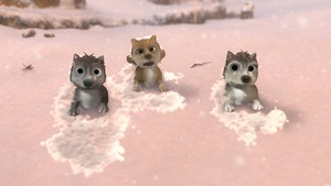 Runt, Stinky, and Claudette in the snow