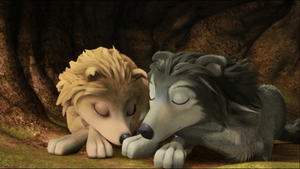 Two Sleeping Wolves
