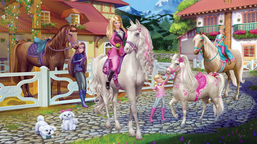Barbie And Her Sisters In A gppony, gppony, pony Tale karatasi la kupamba ukuta called Barbie In A gppony, pony Tale