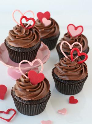 초콜릿 심장 Valentine 컵케익
