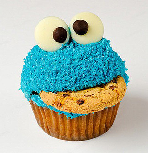 Cupcakes achtergrond with a koekje, cupcake called Cookie Monster Cupcakes