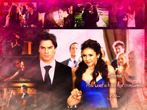 Damon & Elena karatasi la kupamba ukuta possibly containing a bouquet entitled Delena always and forever