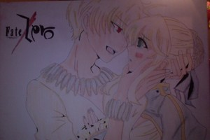 Fate/Zero-Saber and Archer drawing on canvas