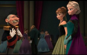 Elsa and Anna greeting guests