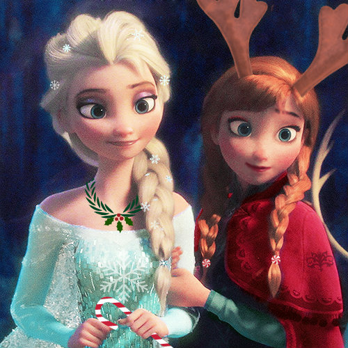 Elsa and Anna on a christmas