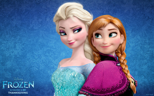 Elsa the Snow क्वीन वॉलपेपर possibly containing a कॉकटेल dress and a portrait called Elsa and Anna