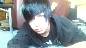 emo Boy with green hair
