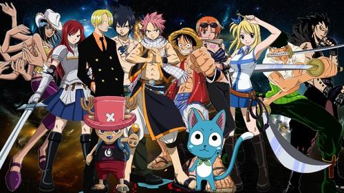 Fairy Tail karatasi la kupamba ukuta entitled Fairy Tail X One Piece