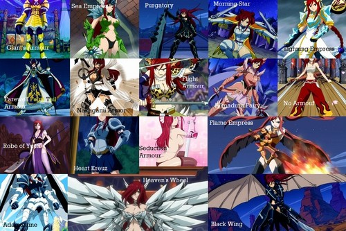 Fairy Tail Hintergrund entitled All Erza's Armours and their Names