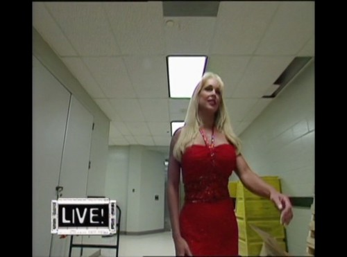 Frühere WWE-Diva… Debra Hintergrund probably with bare legs, hosiery, and a cocktail dress titled Debra - Raw 10th May 1999 - Part I