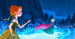 Anna stopping Elsa from running away