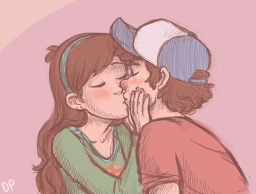 Gravity Falls achtergrond with anime entitled Dipper Mabel kiss