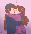 Dipper and Mabel kissing - gravity-falls photo