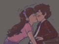 Dipper and Mabel kissing