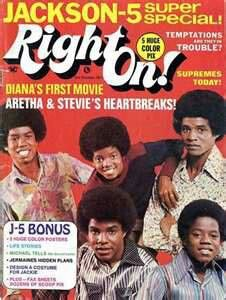 """The Jackson 5 On The Cover Of """"Right On!"""" Magazine"""