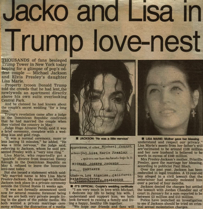 An articulo Pertaining To Michael And Lisa Marie