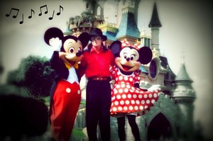 Michael With Mickey And Minnie Mouse