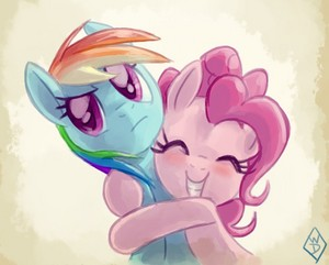 Pinkie Pie and Rainbow Dash Hugging