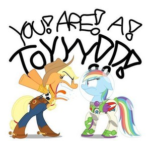 applejack as Woody and upinde wa mvua Dash as Buzz Lightyear