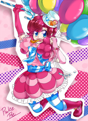 Pinkie Pie as a Human Holding Balloons