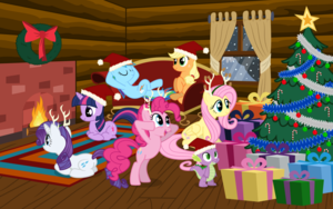 The Mane 6 Celebrating Christmas