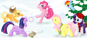 The Mane 6 in the Snow